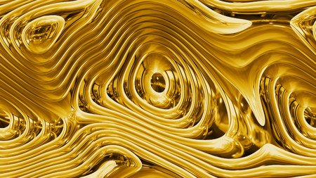 Abstract curves - golden parametric curved shapes 4k seamless background - 3d rendering
