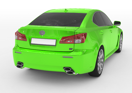 car isolated on white - green paint, tinted glass - back-right side view - 3d rendering
