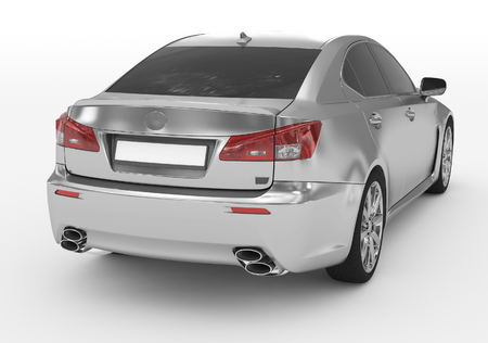 car isolated on white - silver, tinted glass - back-right side view - 3d rendering Фото со стока