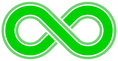 infinity symbol green - outlined with discontinuation - isolated - vector illustration