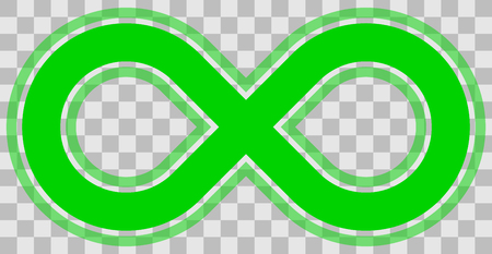 infinity symbol green - outlined with transparency eps 10 - isolated - vector illustration