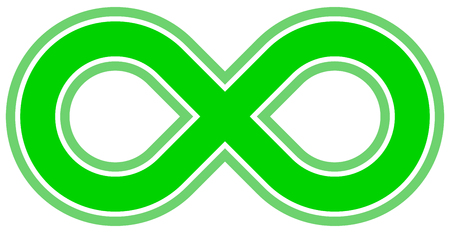 infinity symbol green - outlined - isolated - vector illustration