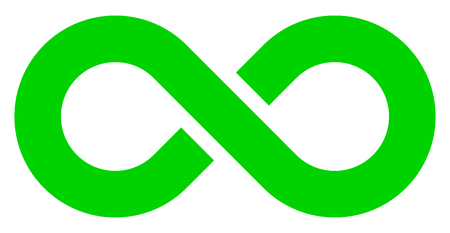 infinity symbol green - simple with discontinuation - isolated - vector illustration