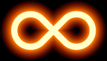 Orange light infinity symbol, color tint glow with transparency eps 10 isolated on a black background. Vector illustration Çizim