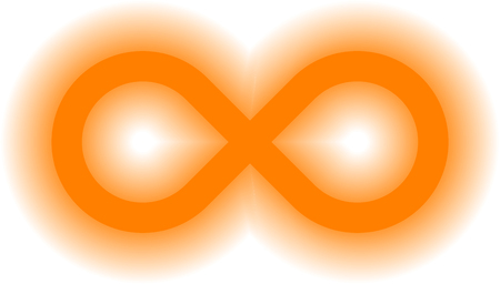 infinity symbol orange - simple glow with transparency eps 10 - isolated - vector illustration Çizim