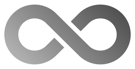 infinity symbol gray - gradient with discontinuation - isolated - vector illustration Ilustração
