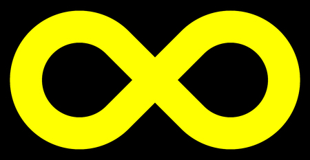 infinity symbol yellow - simple standard - isolated - vector illustration