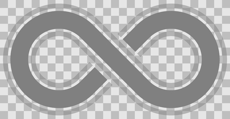 infinity symbol medium gray - outlined with discontinuation and transparency eps 10 - isolated - vector illustration Çizim