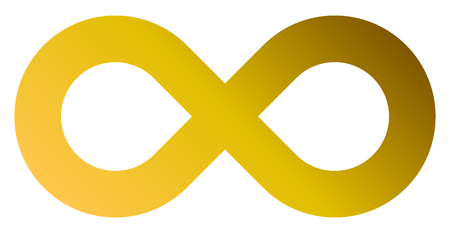 infinity symbol golden - gradient standard - isolated - vector illustration