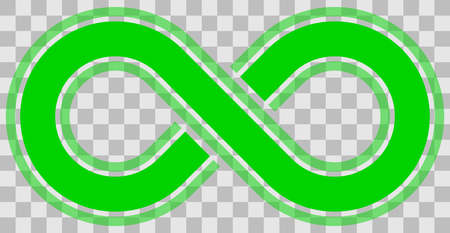 infinity symbol green - outlined with discontinuation and transparency eps 10 - isolated - vector illustration