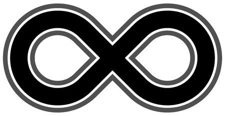infinity symbol black - outlined - isolated - vector illustration