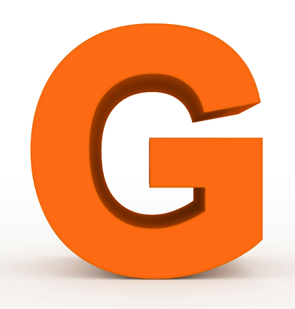 letter G 3d clean orange isolated on white - 3d rendering