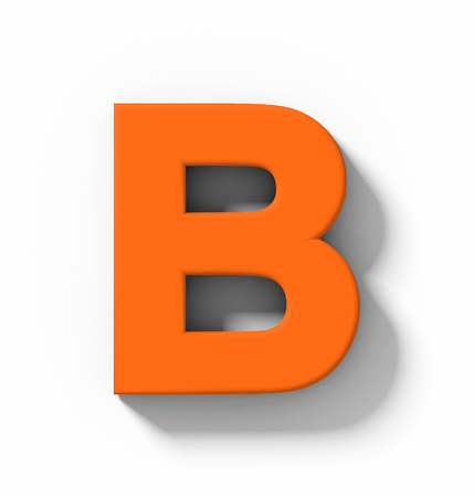 letter B 3D orange isolated on white with shadow - orthogonal projection - 3d rendering