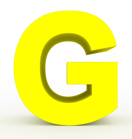 letter G 3d clean yellow isolated on white - 3d rendering Stock fotó