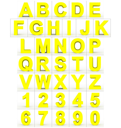 letters and numbers 3d yellow isolated on white - 3d rendering