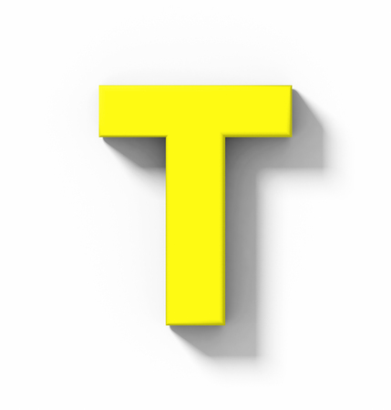 letter T 3D yellow isolated on white with shadow - orthogonal projection - 3d rendering
