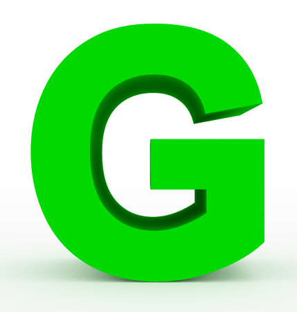 letter G 3d clean green isolated on white - 3d rendering
