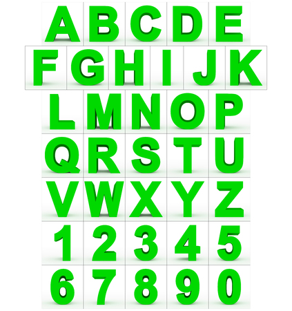 letters and numbers 3d green isolated on white - 3d rendering