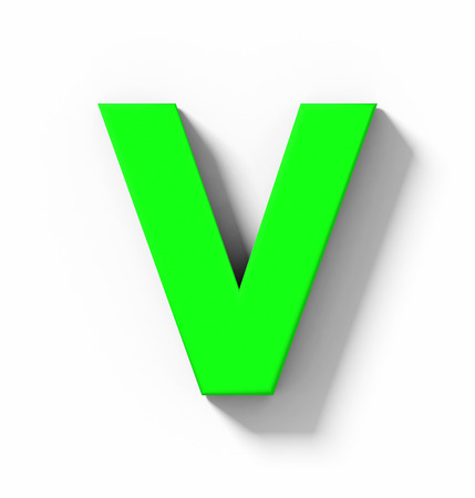 letter V 3D green isolated on white with shadow - orthogonal projection - 3d rendering Banque d'images