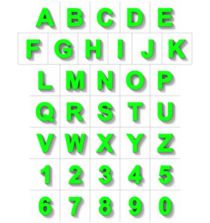 letters and numbers 3D green isolated on white with shadow - orthogonal projection - 3d rendering Stock Photo
