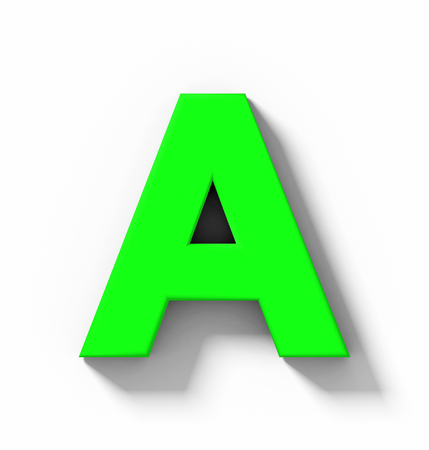 letter A 3D green isolated on white with shadow - orthogonal projection - 3d rendering