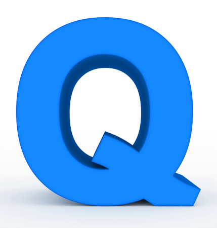 letter Q 3d blue isolated on white - 3d rendering Фото со стока