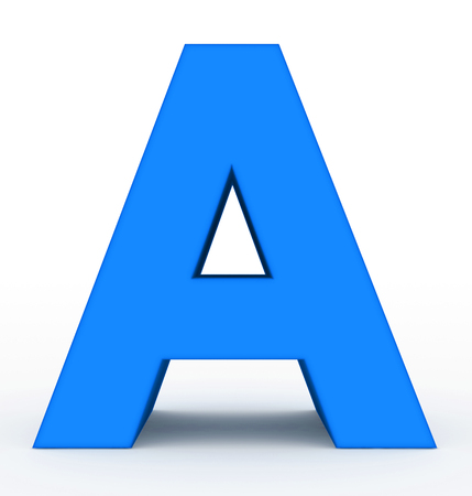 letter A 3d clean blue isolated on white - 3d rendering