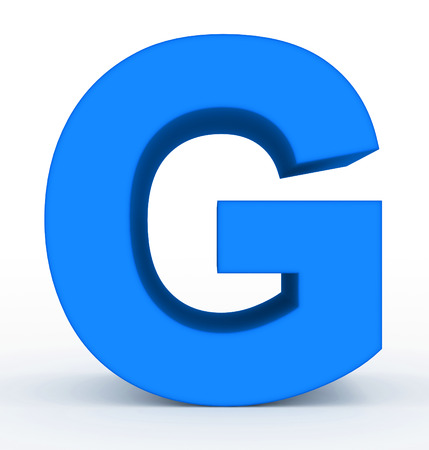letter G 3d clean blue isolated on white - 3d rendering