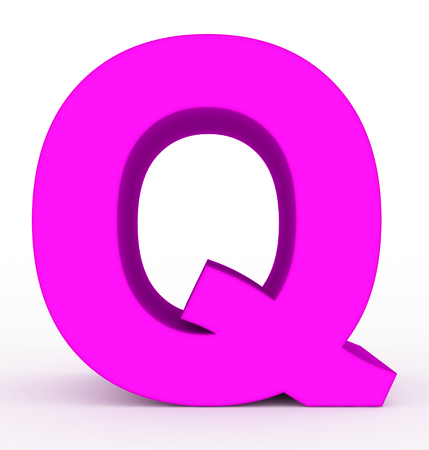 letter Q 3d purple isolated on white - 3d rendering Stok Fotoğraf