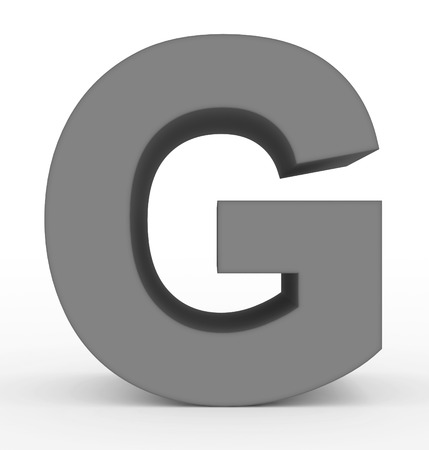 letter G 3d clean gray isolated on white - 3d rendering Фото со стока