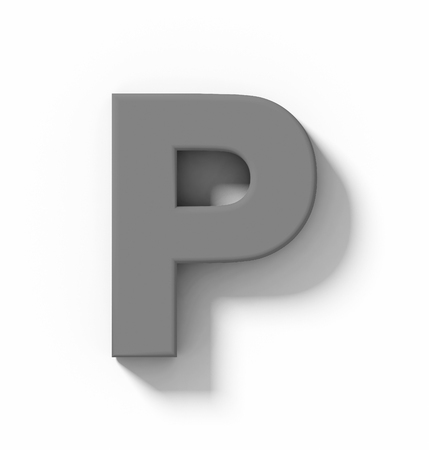 letter P 3D medium gray isolated on white with shadow - orthogonal projection - 3d rendering