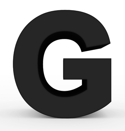 letter G 3d clean black isolated on white - 3d rendering