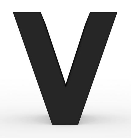 letter V 3d black isolated on white - 3d rendering
