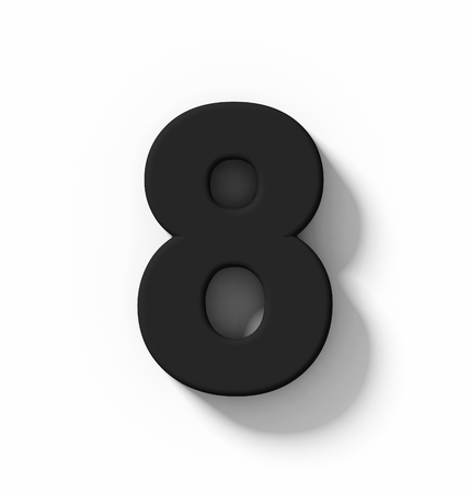 number 8 3D black isolated on white with shadow - orthogonal projection - 3d rendering