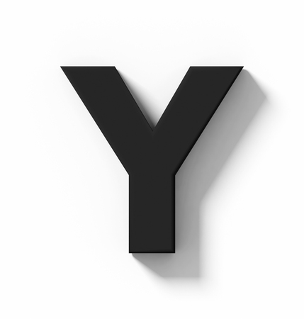 letter Y 3D black isolated on white with shadow - orthogonal projection - 3d rendering