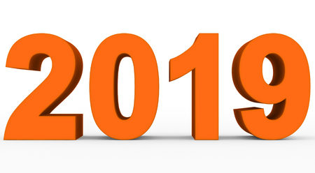 year 2019 orange 3d numbers isolated on white - 3d rendering