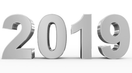 year 2019 silver 3d numbers isolated on white - 3d rendering Reklamní fotografie