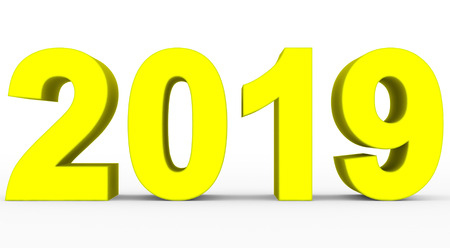 year 2019 yellow 3d numbers isolated on white - 3d rendering Reklamní fotografie