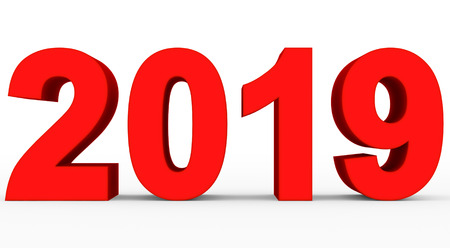 year 2019 red 3d numbers isolated on white - 3d rendering Reklamní fotografie