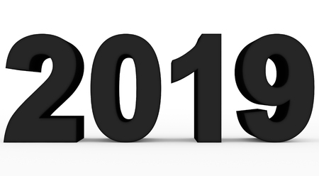 year 2019 black 3d numbers isolated on white - 3d rendering