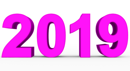 year 2019 purple 3d numbers isolated on white - 3d rendering Stockfoto