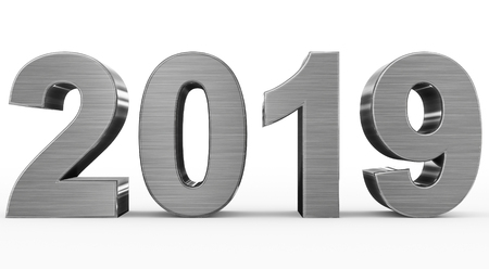 year 2019 metal 3d numbers isolated on white - 3d rendering