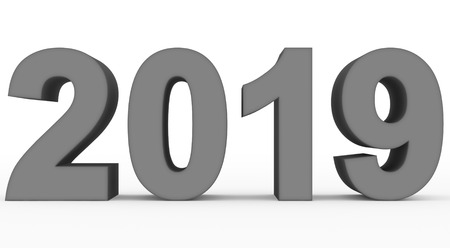 year 2019 medium gray 3d numbers isolated on white - 3d rendering