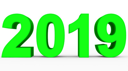 year 2019 green 3d numbers isolated on white - 3d rendering