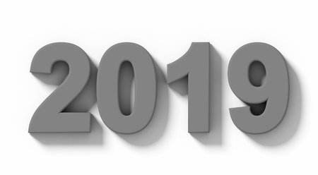 year 2019 medium gray 3d numbers with shadow isolated on white - orthogonal projection - 3d rendering