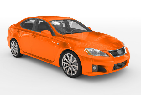 car isolated on white - orange paint, transparent glass - front-right side view - 3d rendering Stockfoto