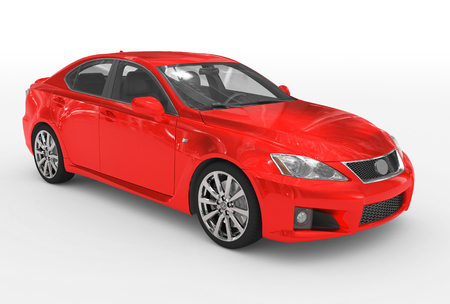 car isolated on white - red paint, transparent glass - front-right side view - 3d rendering