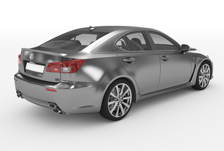 car isolated on white - metal, transparent glass - back-right side view - 3d rendering 免版税图像