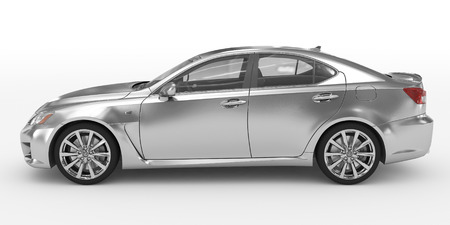 car isolated on white - silver, transparent glass - left side view - 3d rendering Stock Photo