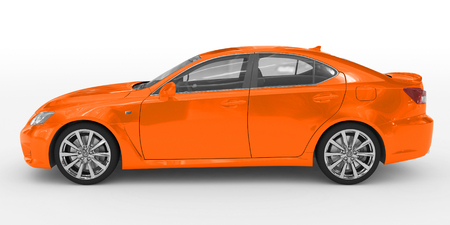 car isolated on white - orange paint, transparent glass - left side view - 3d rendering